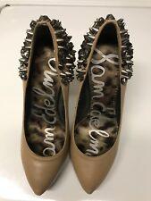 Sam Edelman Roza Spike Heels Size 6 Tan Leather Rhinestone Studs