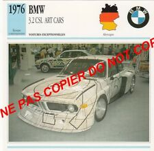BMW 1976 COUPE 3.2 CSL ART CARS F. STELLA CAR GERMANY ALLEMAGNE CARTE FICHE