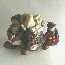 "Vintage Snowmen Figurine Resin w/Flocked Clothing/Hat Christmas Holiday 9""X6""x4"""