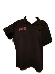 Team USA Navy Blue Polo Shirt Womens Size XL Nike Team Embroidered
