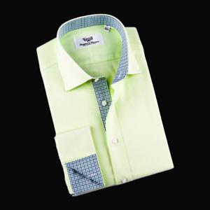 Business Dress Shirt Lime Green Herringbone 100% Egyptian Cotton Boss XL To XXL