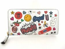 Auth Anya Hindmarch Large Zip Round Wallet All Over Wink sticker's Long Wallet