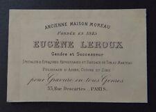 Carte de visite Eugène LEROUX gravure polissage cuivre PARIS old visit card
