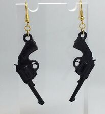 Large Black Pistol Gun Charm Earrings Hooks Kitsch Unusual D410 Gold Plt Hooks