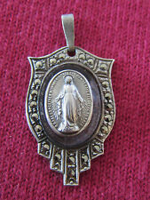 Antique Catholic Religious Medal - STERLING MARCASITE - Miraculous - LAVENDER
