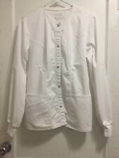 Cherokee Luxe Womens Small White Button Down Long Sleeve Scrub Lab Coat
