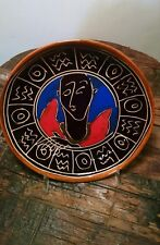 "decorative elegant 6"" ceramic plate sgraffito blackware with figure"