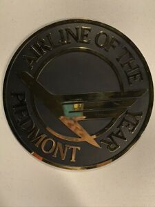 Vintage Piedmont Airlines Airline of the Year Plastic Sign 12in Diameter