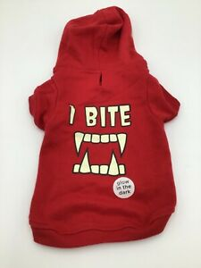 """Bootique """"I Bite"""" Glow in the Dark Hoodie Shirt for Dogs Halloween Costume Sz M"""