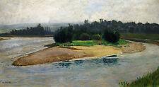 Andreas Harsch 1884-1972 Wien Reichenau/dipinto paesaggio fiume (Boemia meridionale?)