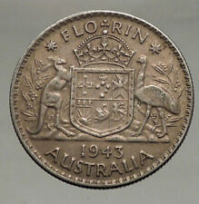 1943 AUSTRALIA Large King George VI Kangaroos Antique Silver Florin Coin i56684