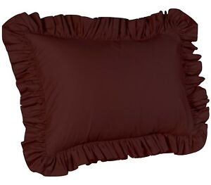 Ruffle Pillowcase, Solid Ruffled Pillow Sham, 15 Colors and 3 Sizes, Poly/Cotton