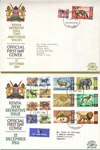 KENYA -  1966 COMPLETE DEFIITIVE FDC + 1969 ADDITIONAL VALUES  FDC - SEE SCANS