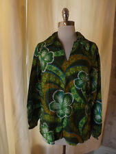 Eye Popping Vtg 1960s 70s GREEN HAWAIIAN FLORAL PULLOVER SHIRT M/L Cotton EUC!