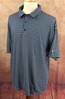 Nike Golf Dri Fit UV Pullover Short Sleeve Polo Blue Stripe Shirt Men's XXL
