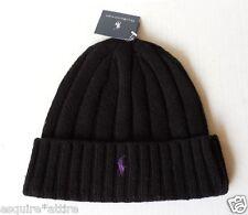 POLO Ralph Lauren men's black beanie cuffed hat wool bland with purple logo NWT