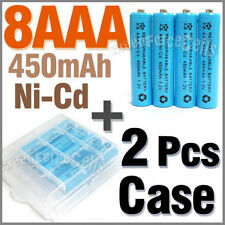 2 Case + 8 AAA Ni-Cd 450mAh rechargeable battery Blue