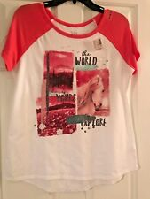 NWT Girls Justice Short Sleeve Top - The World is Yours to Explore
