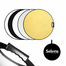 "Selens 5in1 60cm 24"" Collapsible Reflector Round Multi Light Diffuser W/ Handle"