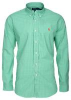 Ralph Lauren Long Sleeve Shirt Poplin Gingham Green Men's Custom Fit Casual Top