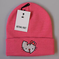 Actual Fact Wu Tang Hello Kitty Hip Hop Beanie Winter Roll Up Pink Wooly Hat