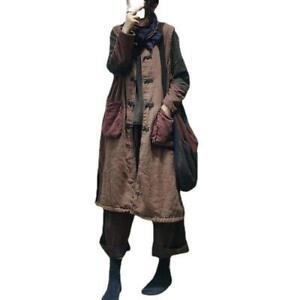 Women Oversize Loose Linen Cotton Blend Sleeveless Waistcoat Long Padded Outwear