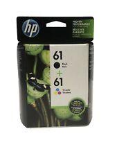 GENUINE HP61 Tri-Color Black Ink Jet Printer Cartridges Twin Pack HP 61 03/2021