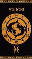Serviette de plage Drap de bain Signe du Zodiaque astrologique Poissons Jacquard
