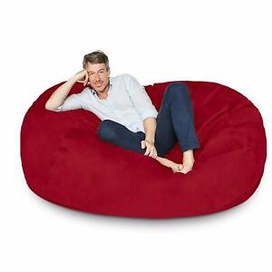 Bean bag Cover 6' Velvet Chair Sofa without Bean Red for luxuries Decor gift