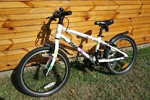 """Frog 55 childs bike, white with coloured spots, 20"""" wheels, exc condition."""