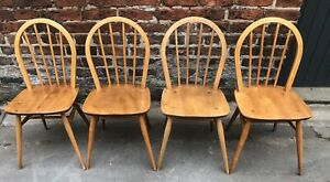 Set of Four Ercol Windsor Model 400 Kitchen Chairs.