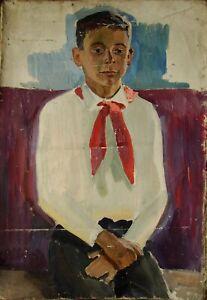 Russian Ukrainian Soviet oil painting realism portrait boy pioneer child figure