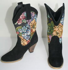 Very Volatile Black Suede Floral Vona Heeled Cowboy Boots Shoes 9