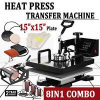 8 in 1 Heat Press Machine 15''x15'' Sublimation Swing Print T-Shirt Mug Hat