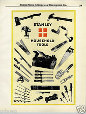 1924 PAPER AD Stanley Tools Poster LIKE Plane Hammer Hatchet Chisels Saw Hammer