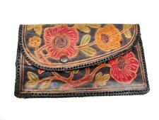 Clutch hand bag  Decorated leather  8 inches wide  Small flat handbag