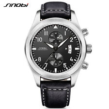 Men's Leather Watch Chronograph Sports Waterproof Stainless Steel Quartz Watch