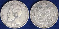 5 LEI 1883 B ROMANIA ARGENTO SILVER #4596