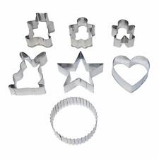 7 X COOKIE BISCUIT PASTRY METAL CUTTERS BEAR FLUTED STAR HEART HOTEL QUALITY