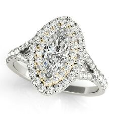 NEW 14k TWO-TONE GOLD SEMI-MOUNT DIAMOND MARQUISE CUT HALO ENGAGEMENT RING 1ct.