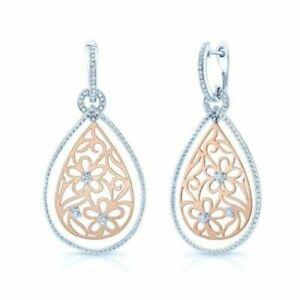 14K Rose White Gold Flower Paisley Scroll Diamond Teardrop Pear Earrings Dangle