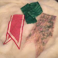 3 Vintage Scarves Silk Vera Floral Green & Red White