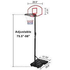 Portable Basketball System Adjustable Hoop Backboard Yard Outdoor Kids Sports