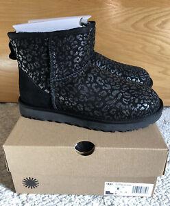 NWT UGG Size 8 Classic Mini Snow Leopard Glitter Boot BLK Black