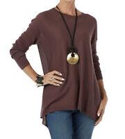 NEW MarlaWynne Plum Crescent Hem Lightweight Pullover Sweater Size Small