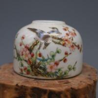 CHINESE OLD MARKED FAMILLE ROSE COLORED MAGPIE PLUM PATTERN PORCELAIN WATER JAR