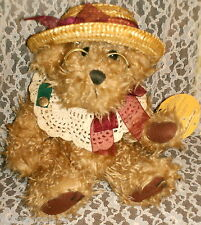 "Stuffed Bear ""ROSIE"" BRASS BUTTON BEAR Collectible JOY & GOOD FORTUNE 12"" Tall"