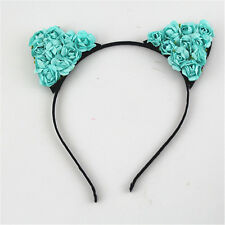 Flower Elf Cat Ears Headband Cosplay Party Orecchiette Costume Halloween Blue