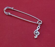 Treble Clef Music Silver Pin Badge, New