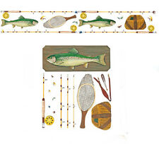 Tatouage Fly Fishing Kit Rub on Transfers + 12 feet of Matching Border by Yovan